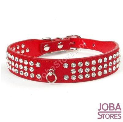 Honden Halsband Bling Rood M
