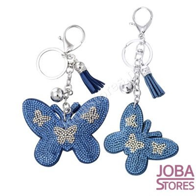Bling Sleutelhanger Vlinder Blauw Klein