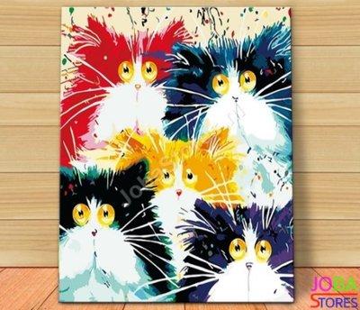 Schilderen op nummer Crazy Cats 40x50cm (inclusief lijst)