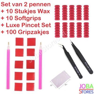 Diamond Painting Pennen + Wax + Softgrips + Pincet Set + Gripzakjes