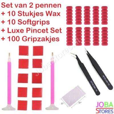 Diamond Painting Pennen Breed + Wax + Softgrips + Pincet Set + Gripzakjes