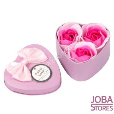 Zeep Roosjes Hart met 3 roosjes (Roze)