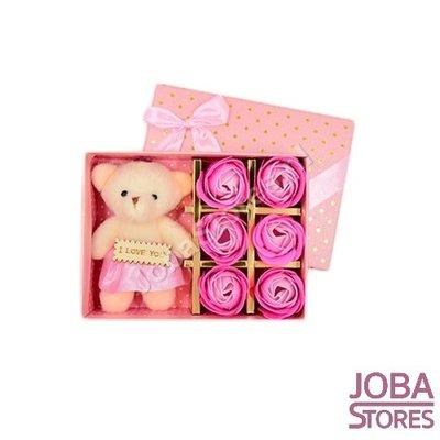 Zeeproosjes met I Love You beertje in geschenkdoos (Roze)