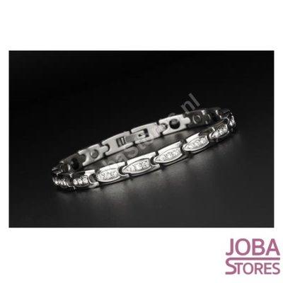 Magnetische Dames Armband Bling incl. tool en geschenkdoos (Zilver - 19,5cm)