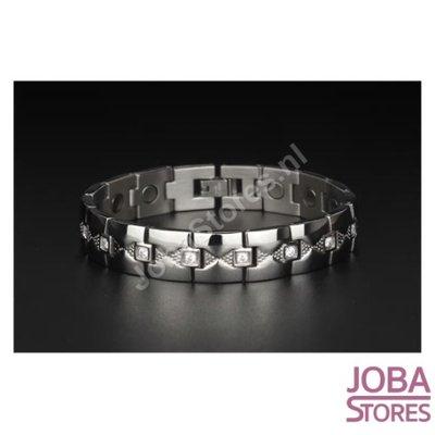 Magnetische Heren Armband Bling incl. tool en geschenkdoos (Zilver - 20cm)