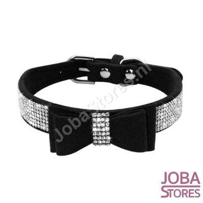 Honden/Katten Halsband Bling met strik Zwart (XS)