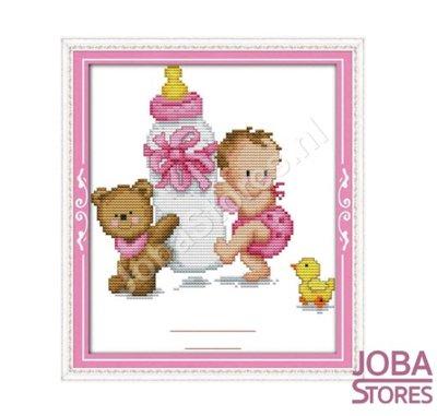 Borduur Pakket Baby Roze 14CT Voorbedrukt (20x25cm)