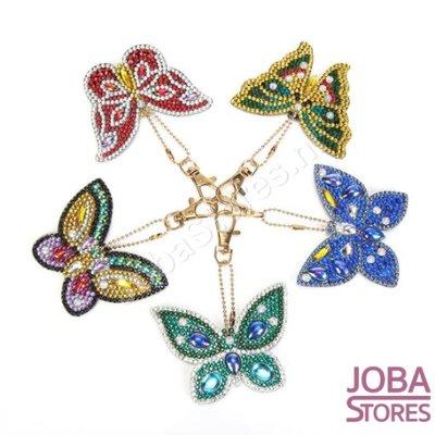 Diamond Painting Sleutelhanger Set Vlinders (5 stuks)
