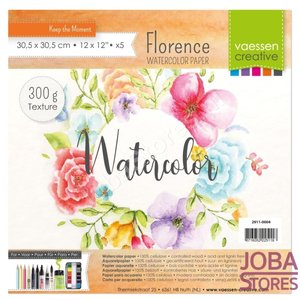 """Aquarelpapier """"Florence"""" ivoor texture 300g 30,5x30,5 (5 stuks)"""