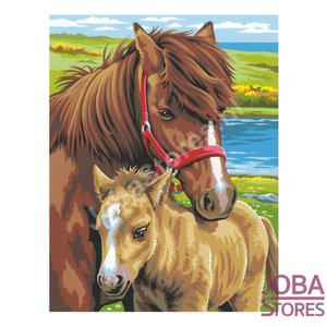 """Schilderen op nummer """"Sequin Art"""" Junior Paarden (2 stuks)"""