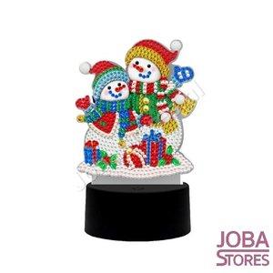 Diamond Painting 3D Illusie Lamp Kerst (Sneeuwpoppetjes)