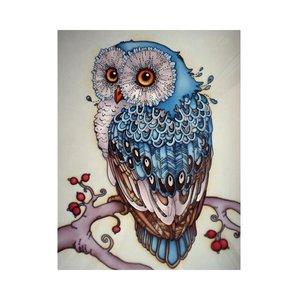OP=OP Diamond Painting Blauwe Uil 30x40cm - Rond