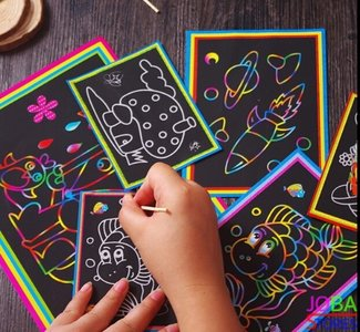 Kras tekeningen & kleurplaten in 1 assortiment 20 stuks