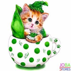 OP=OP Diamond Painting Kitten Groen 30x30cm