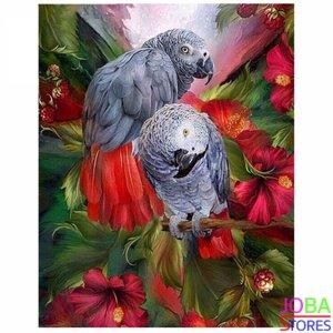 """Diamond Painting """"JobaStores®"""" Grijze Roodstaart Papegaai - volledig - 30x40cm"""