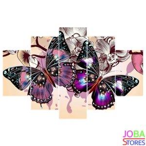 OP=OP Diamond Painting Vlinders 5 luiks Paars 75x50cm