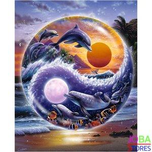 Diamond Painting Yin Yang Dolfijn 30x40cm