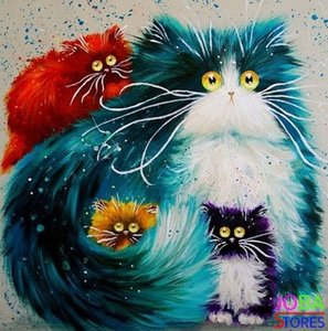 Diamond Painting Crazy Cats 01 30x30cm
