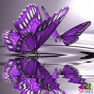 Diamond Painting Paarse Vlinders 30x30cm