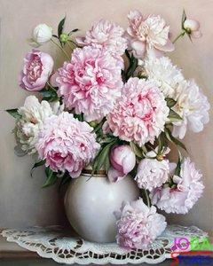 Schilderen op nummer Roze Bloemen - 40x50cm