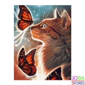 OP=OP Diamond Painting Kat met Vlinders 40x50cm