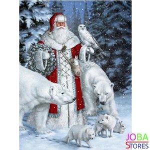 Diamond Painting Kerstman met ijsberen 40x50cm