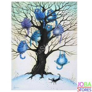 OP=OP Diamond Painting Katten in boom 40x50cm
