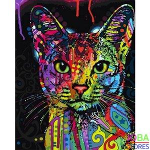 Schilderen op nummer Gekleurde Kat 40x50cm