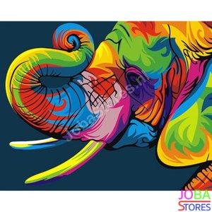 Schilderen op nummer Gekleurde Olifant 40x50cm