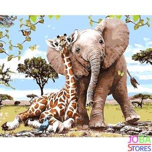 Schilderen op nummer Olifant & Giraf 40x50cm