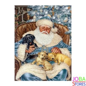 Diamond Painting Kerstman met puppies 40x50cm