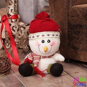 OP=OP Pluche Sneeuwpop Rood