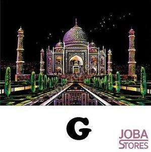 Kras Tekening Groot G (41x28cm) - Taj Mahal