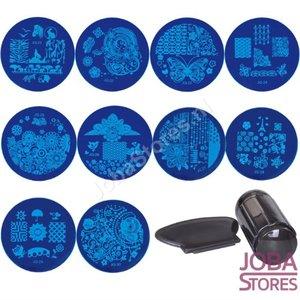 Nagellak Stempel Set (10 stempelplaten) + Stempel & Schraper