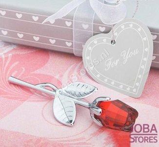 Kristallen Roosje in geschenkdoosje Rood