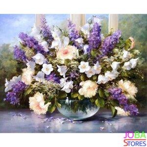 Schilderen op nummer Paarse Bloemen 40x50cm