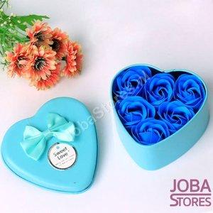 Zeep Roosjes Hart met 6 roosjes (Blauw)