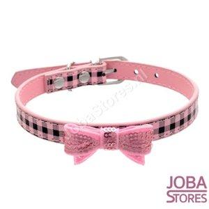 OP=OP Honden Halsband Ruitjes met strik Roze S
