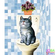 "Diamond Painting ""JobaStores®"" Toilet Kat Blauw - volledig - 30x40cm"