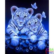 """Diamond Painting """"JobaStores®"""" Witte Tijgertjes - volledig - 30x40cm"""