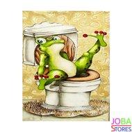 """Diamond Painting """"JobaStores®"""" Toilet Kikker 02 - volledig - 30x40cm"""